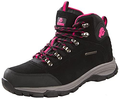 GUGGEN Mountain PT022 Damen Wanderschuhe Trekkingschuhe Outdoorschuhe Wanderstiefel Walkingschuhe Wasserdicht mit Membran und Wildleder Farbe Schwarz-Pink EU 39 ISPfP8AZj