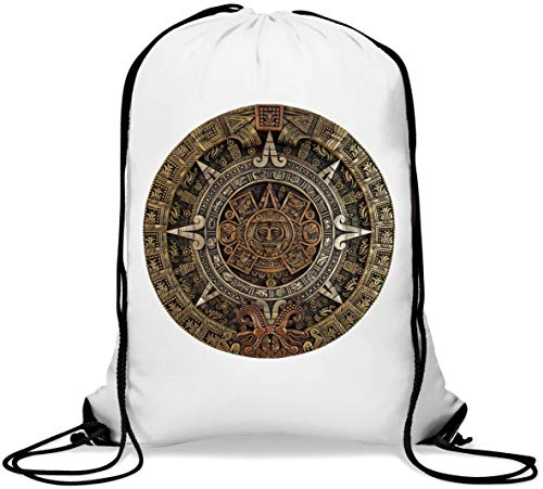 Aztec Calendar Historic Statue Graphic New Year Gym Sack Casual Drawstring Bag von Generic