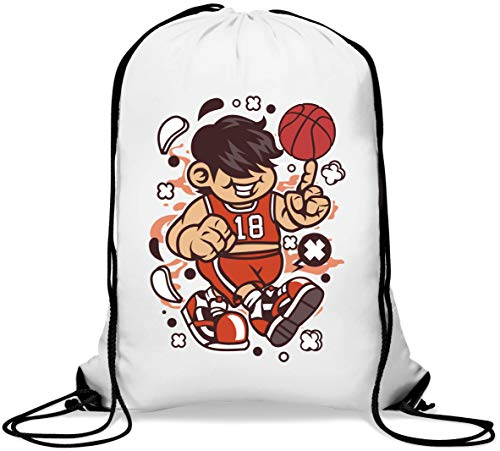 Basketball Kid Ball Sport Art Number One Gym Sack Casual Drawstring Bag von Generic