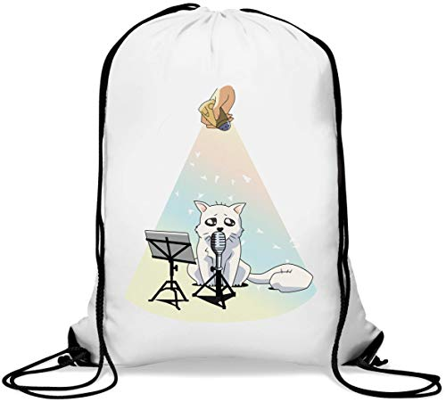 Cute Christmas Singer Kitty Cat Gym Sack Casual Drawstring Bag von Generic