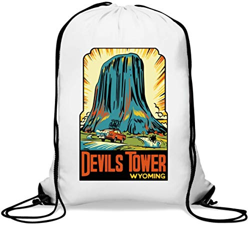 Devils Tower Wyoming Retro Climbing Poster Art Gym Sack Casual Drawstring Bag von Generic