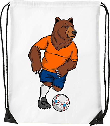 Football Brown Bear Kick The Ball Art Kordelzug Sack Sack Wanderhalle von Generic