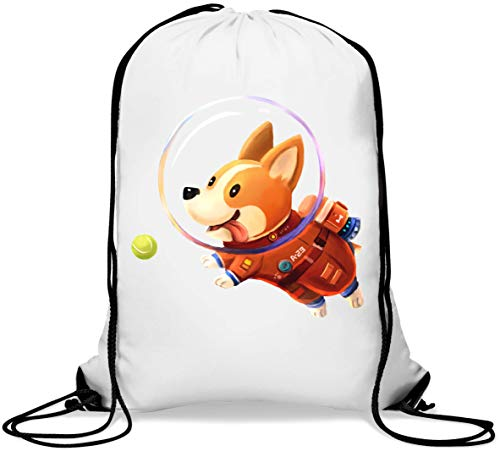 Funny Dog Astronaut Corgi Chasing A Ball Gym Sack Casual Drawstring Bag von Generic