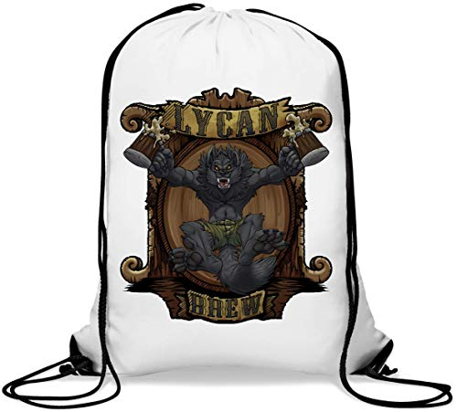 Funny Werewolf Lycan Brew Beer Mugs Dog Gym Sack Casual Drawstring Bag von Generic
