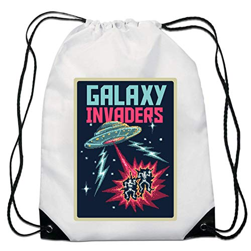 Galaxy Invaders Retro Game Styled Poster Kordelzugtasche von Generic