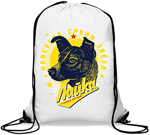 Laika CCCP Retro Styled Poster Graphic Gym Sack Casual Drawstring Bag von Generic