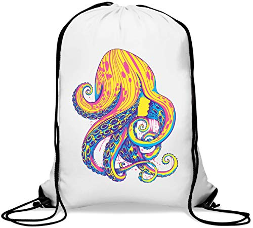 Octopus Tentacle Haired Woman Psychedelic Trance Gym Sack Casual Drawstring Bag von Generic