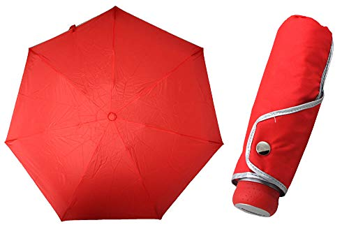 TIROSS Regenschrim, compact Pocket Umbrella - Ultra Mini, Flat, solid, Slim (rot) von Generic