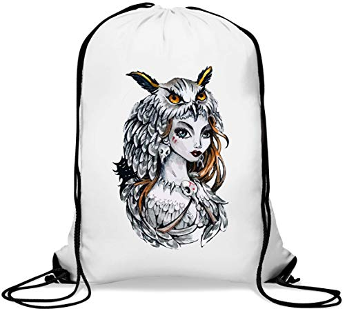Tribal Woman Owl and Feathers Graphic Gym Sack Casual Drawstring Bag von Generic