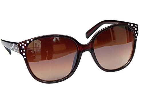 Damenbrille Sonnenbrille Schwarz Lila Retro Strass-Steinen Metall Nieten M 40