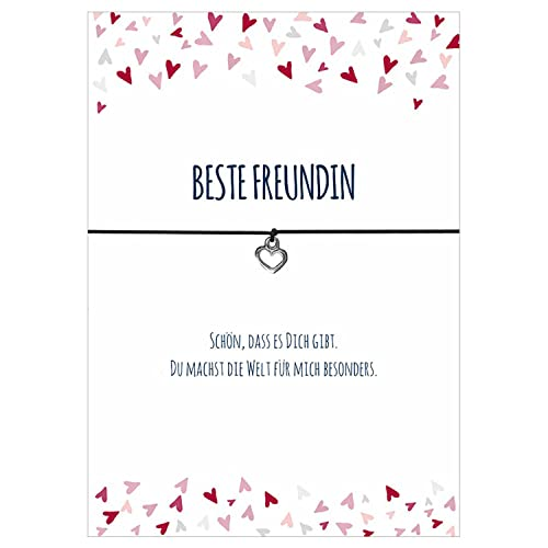 Armband HERZENSMENSCH mit Herz Anh/änger versilbert Gl/ücksschmiedin Spruch elastischem Textilband liebevoller Karte