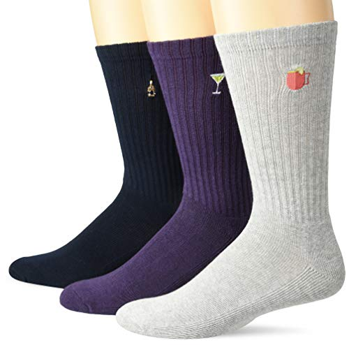 Goodthreads 3-Pack Embroidered Ribbed Crew casual-socks, Bestickte Party, One Size von Goodthreads