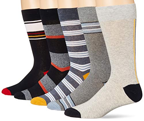 Goodthreads 5-Pack Patterned casual-socks, Grey Navy Stripes, One Size von Goodthreads