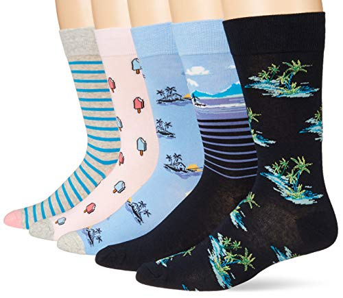 Goodthreads 5-Pack Patterned casual-socks, Vacation Pack, One Size von Goodthreads