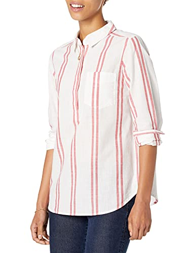 Goodthreads Washed Cotton Popover button-down-shirts, White/Cardinal Double Stripe, M von Goodthreads