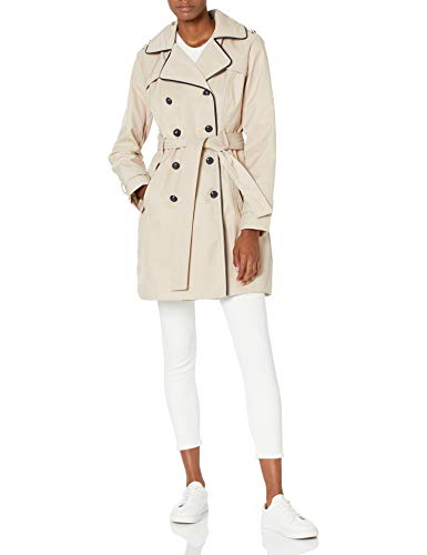 Guess Damen Double Breasted Trench Coat with Contrast Trim Trenchcoat, Khaki, Medium von Guess