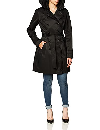 Guess Damen Double Breasted Trench Coat with Contrast Trim Trenchcoat, schwarz, Large von Guess