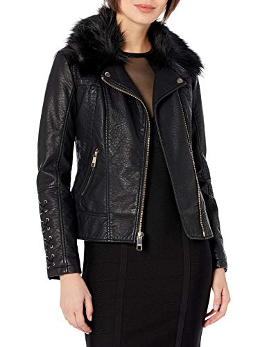 Guess Damen Leather Moto Jacket with Removable Faux fur Trim Kunstlederjacke, schwarz, Medium von Guess