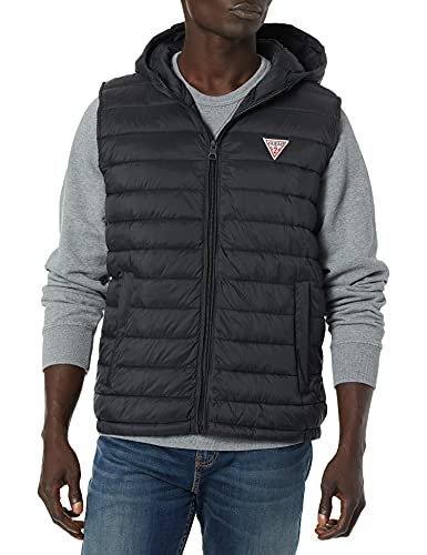 Guess Herren Light weight puffer vest with hood Daunenweste, schwarz, X-Large von Guess