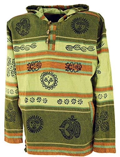 0019dfd526 Guru-Shop Goa Kapuzenshirt, Baja Hoody Nepalhoodie, Herren, Olive,  Baumwolle,