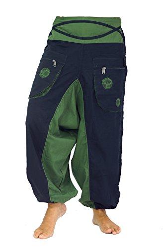 Guru-Shop Haremshose Pluderhose Pumphose Aladinhose Spirale, Damen,  Schwarz grün, Baumwolle b27037957d