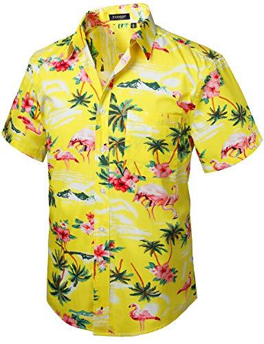 King Kameha Hawaiihemd Herren Funky Casual Kragen Brusttasche Unisex Kurzarm Small Flower