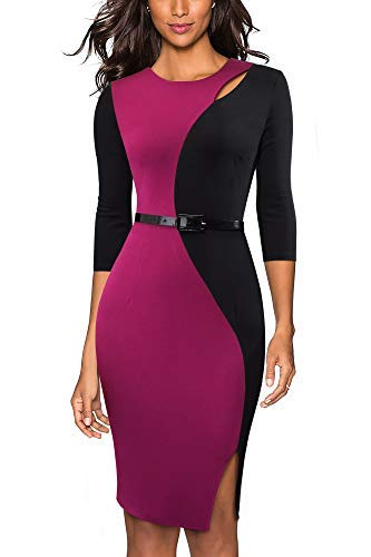 HOMEYEE Damen Puppe-Kragen-Wear to Work A-Linie Partei-beil/äufiges Kleid A016 Schwingen