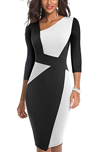 HOMEYEE Damen Vintage Blumendruck Off Shoulder Riemchen Kniel/änge Bodycon Enges Kleid B309
