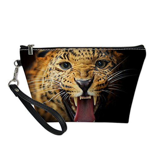 HUGS IDEA 3D Leopard Print Trapezoid Toiletry Pouch Stylish Leather Handle Cosmetic Bag for Women von HUGS IDEA