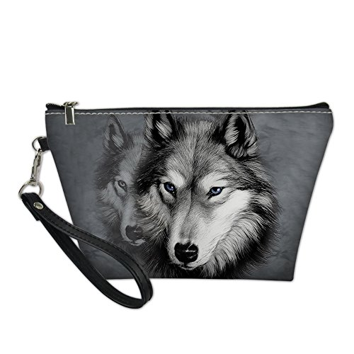 HUGS IDEA 3D Wolf Print PU Leather Cosmetic Pouch Teen Girl Travel Protable Toiletry Bag Hipster von HUGS IDEA