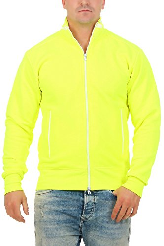 Happy Clothing Herren Sweatjacke sportlich ohne Kapuze - gestreifte Trainingsjacke - Sweatshirtjacke - Zip-Jacke Reißverschluss mit Kragen, Größe:L, Farbe:Neongelb von Happy Clothing