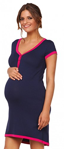 Happy Mama. Damen Umstands-Nachthemd mit Stillfunktion. Stillshirt Kurzarm. 981p (Marine, EU 40/42, XL) von Happy Mama Boutique