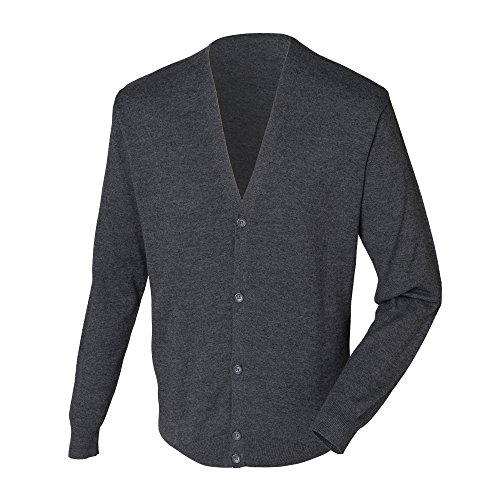 Henbury Herren Mens Lightweight V Cardigan Strickjacke, Grau (Grey Marl), Large von Henbury