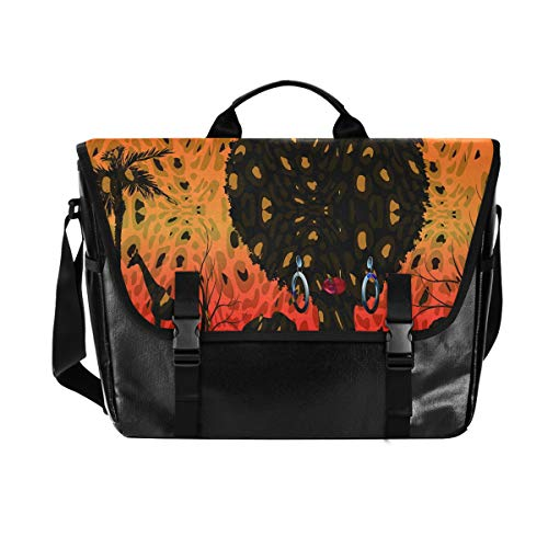 Hunihuni Messenger Bag African Woman Tree Canvas Laptop Aktentasche Umhängetasche für Herren mit Schultergurt Anzug für 38,1 cm (15 Zoll) von Hunihuni