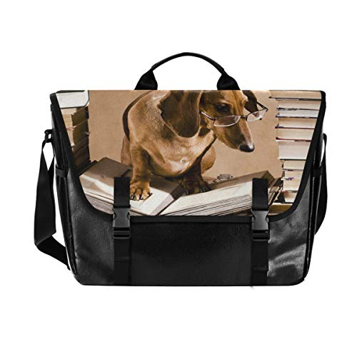 Hunihuni Messenger Bag Animal Dackel Hund Canvas Laptop Aktentasche Tasche Umhängetasche für Herren mit Schultergurt Anzug für 38,1 cm (15 Zoll) von Hunihuni