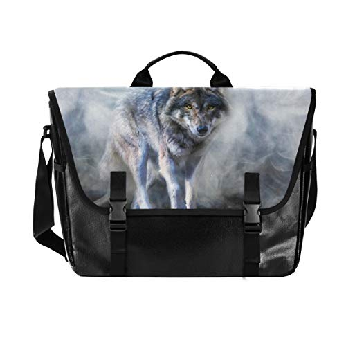 Hunihuni Messenger Bag Art Painting Animal Wolf Canvas Laptop Aktentasche Umhängetasche für Herren mit Schultergurt Anzug für 38,1 cm (15 Zoll) von Hunihuni