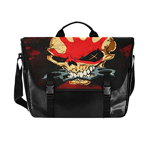 Hunihuni Messenger Bag Art Painting Skull Canvas Laptop Aktentasche Umhängetasche für Herren mit Schultergurt Anzug für 38,1 cm (15 Zoll) von Hunihuni