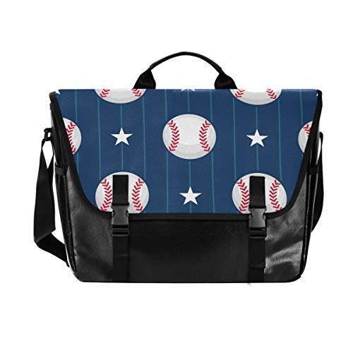 Hunihuni Messenger Bag Baseball Muster Canvas Laptop Aktentasche Umhängetasche für Herren mit Schultergurt Anzug für 15 Zoll (38,1 cm) von Hunihuni
