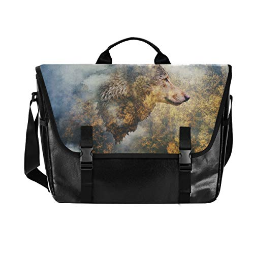 Hunihuni Messenger Bag Herbstwald Wolf Canvas Laptop Aktentasche Umhängetasche für Herren mit Schultergurt Anzug für 15 Zoll von Hunihuni