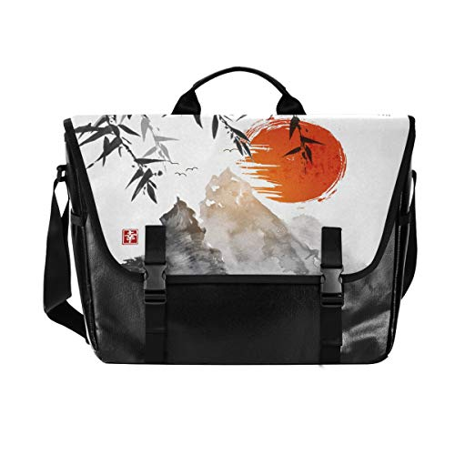Hunihuni Messenger Bag Japanische Malerei Fuji Mountain Canvas Laptop Aktentasche Umhängetasche für Herren mit Schultergurt Anzug für 15 Zoll von Hunihuni