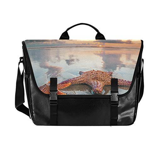 Hunihuni Messenger Bag Ocean Sea Beach Seestern Canvas Laptop Aktentasche Tote Umhängetasche für Herren mit Schultergurt Anzug für 38,1 cm (15 Zoll) von Hunihuni
