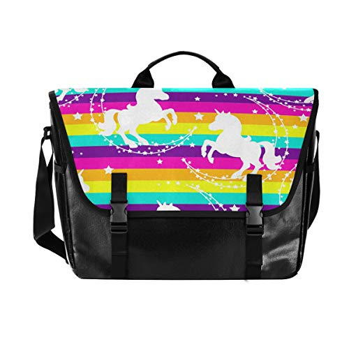 Hunihuni Messenger Bag Rainbow Galaxy Einhorn Canvas Laptop Aktentasche Umhängetasche für Herren mit Schultergurt Anzug für 15 Zoll von Hunihuni