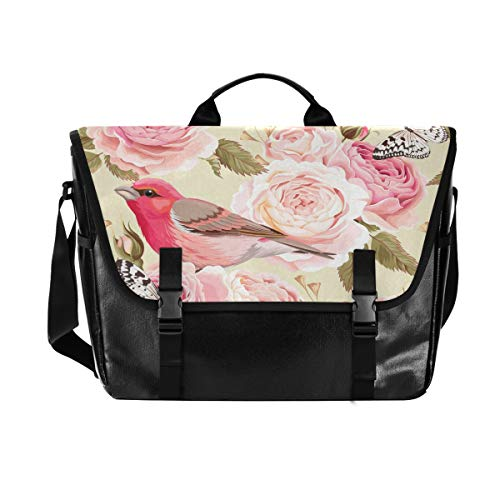 Hunihuni Messenger Bag Rose Animal Bird Canvas Laptop Aktentasche Umhängetasche für Herren mit Schultergurt Anzug für 15 Zoll (38,1 cm) von Hunihuni