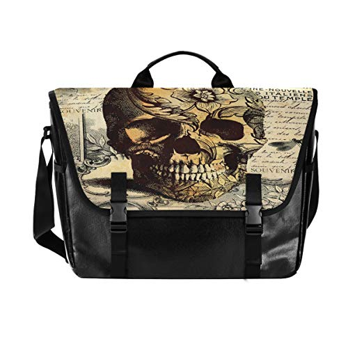 Hunihuni Messenger Bag Vintage Flower Skull Canvas Laptop Aktentasche Umhängetasche für Herren mit Schultergurt Anzug für 15 Zoll von Hunihuni