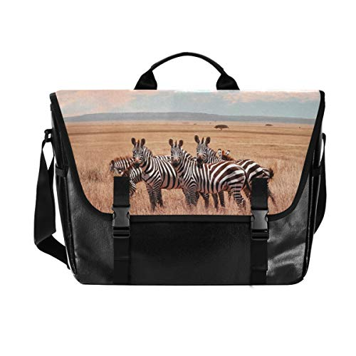 Hunihuni Messenger Bag Wild African Zebra Canvas Laptop Aktentasche Umhängetasche für Herren mit Schultergurt Anzug für 15 Zoll von Hunihuni