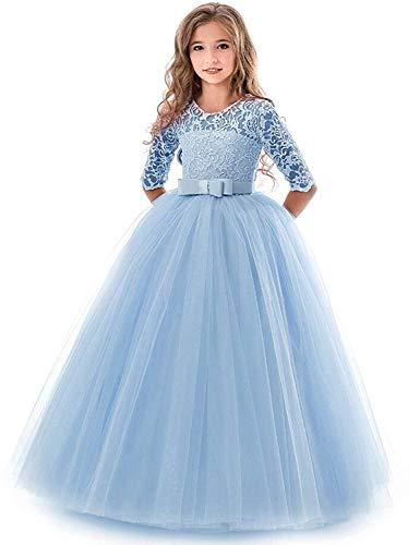 e41cc4726dcebd Blumenmädchen Kleider Mädchen Kinder Festlich Hochzeits Kleid Prinzessin  Brautjungfern Anlässe Partykleider Festzug 3/4 Arm