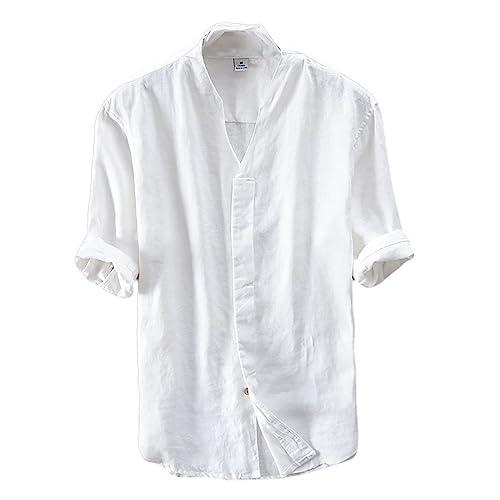 Ommda Herren Kurzarm 100% Leinen Hemden Sommer V Neck Slim