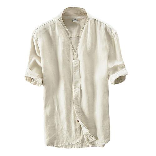 Icegrey Herren 100% Leinen Kurzarm Hemd Sommerhemd V-Neck Freizeit Hemd  Beige 42 von 61b423bdc1