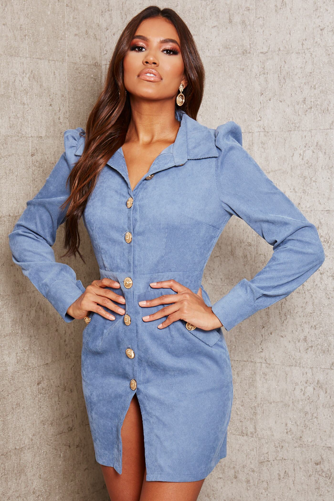 Baby Blue Cord Military Button Front Blazer Dress - 6 / BLUE von ISAWITFIRST.com