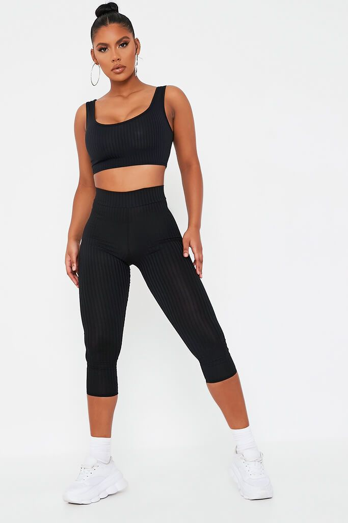 Black Basic Ribbed High Waist Leggings - 12 / BLACK von ISAWITFIRST.com